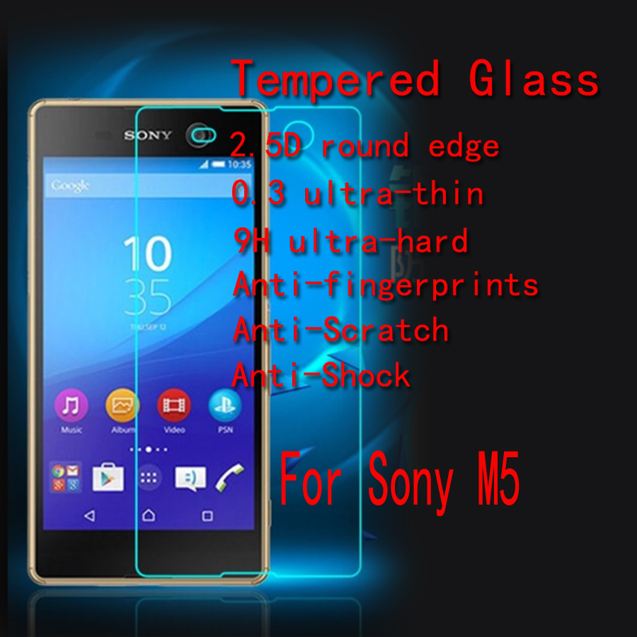M5 Tempered Glass For Sony Xperia M5 (Sony M5) Anti-burst Screen Tempered Glass screen protector 2.5D edge With Retail Package