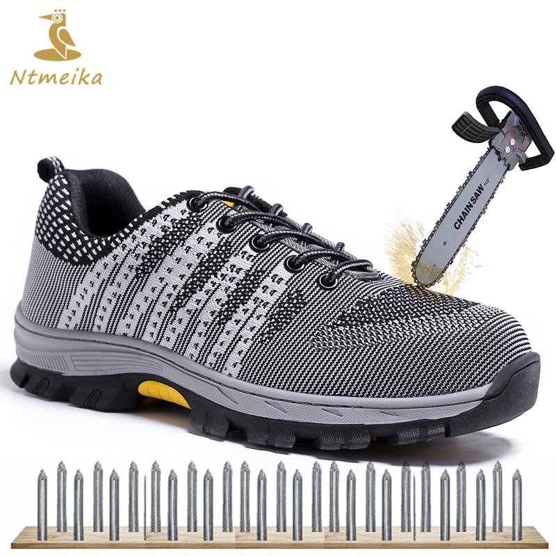Plus 35-46 Men Safety Shoes Steel Toe Cap Work Shoes For Men Lace Up Casual Work Safety Boots Men Summer Protective Footwear best work safety footwear waterproof anti slip overshoes for sea food shop sushi shop men s medical nurising hospital shoes