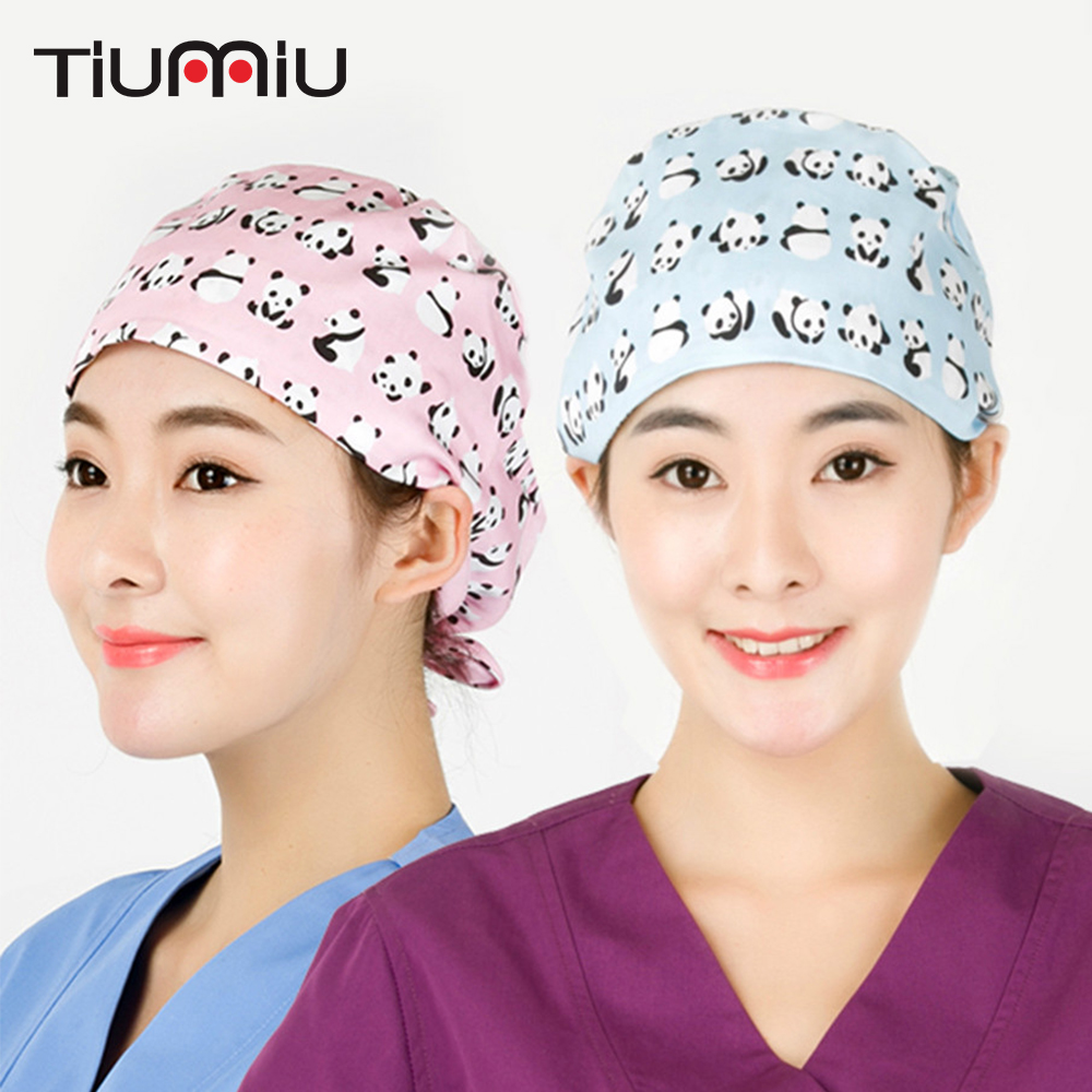 Cute Panda Pattern Scrub Caps 100% Cotton Gourd Hat Clinic Hospital Dental Surgical Laboratory Pharmacy Nurse Doctor Medical Cap