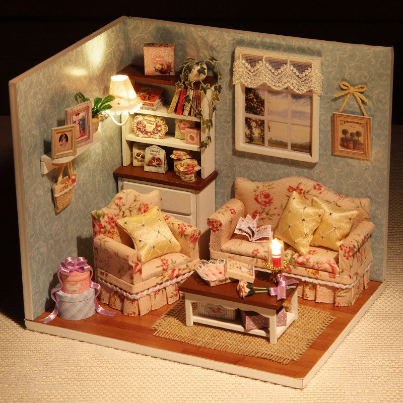 diy handmake wooden dollhouse miniature kit happy living room with cover furniture cute bedroom. Black Bedroom Furniture Sets. Home Design Ideas