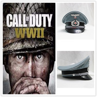 Game WWII German Officer Cosplay Military Hat Woolen Cap With Eagle Badge Collectible Prop
