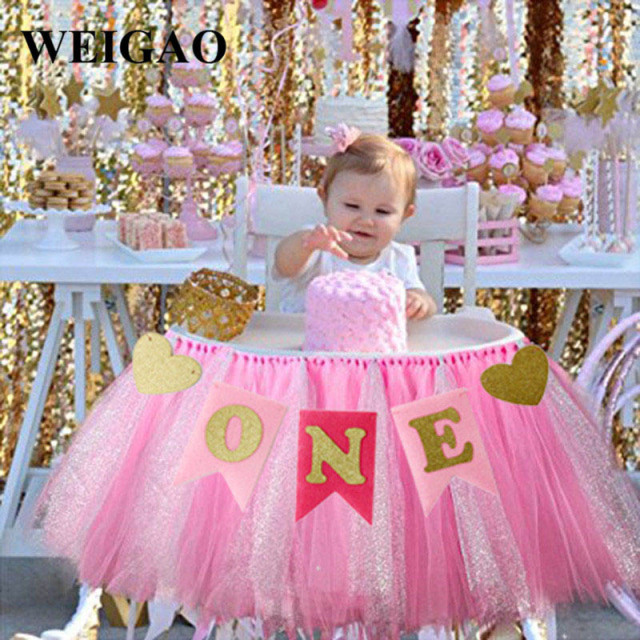 WEIGAO 1 Set Pink Blue ONE Garland Butting Banner Year Old Baby Birthday Party Decoration Shower Ornaments Supplies