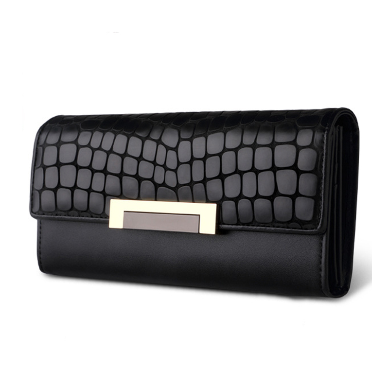 Vintage Quality Leather Long Fashion Women Wallets Designer Brand Clutch Purse Lady Party 2017 Black Wallet Female Card Holder nawo real genuine leather women wallets brand designer high quality 2017 coin card holder zipper long lady wallet purse clutch