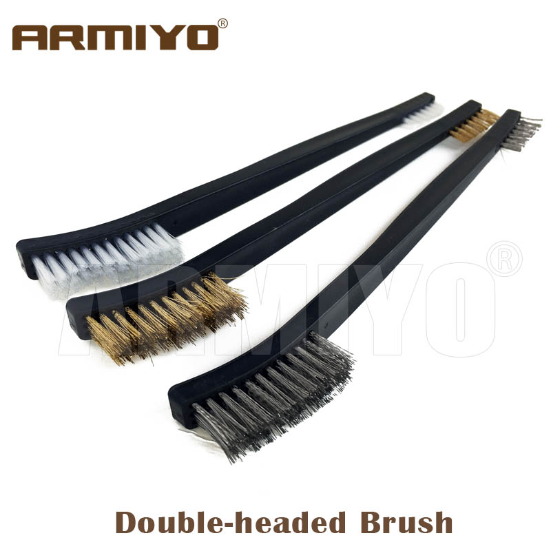 Armiyo Double-headed Wire / Nylon Brush Gun Barrel Cleaning Kit Pistol Cleaner Tool Shooting Paintball Accessories 3pcs/Set