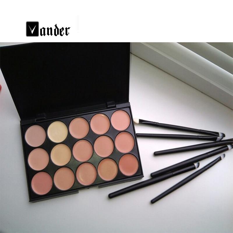 New Makeup Set 15 Colors Contour Face Cream Concealer Palette + 6Pcs Black Eye Lip Make Up Brushes Cosmetic Tools