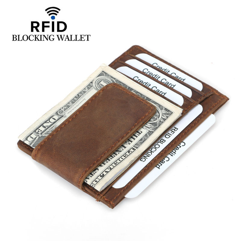 Front Pocket Credit Card Wallet Crazy Horse Leather Small Card Purse Money Clip Men RFID Blocking Slim Card Case Magnetic Hasp цена 2017