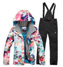 2016 High quality Winter Warm cotton dress Women Skiing Camouflage Jackets+Bib Pants Waterproof Snowboard suit sets