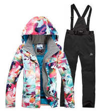 2016  High quality Winter Warm cotton dress Women Skiing Camouflage Jackets+Bib Pants Waterproof Snowboard suit sets
