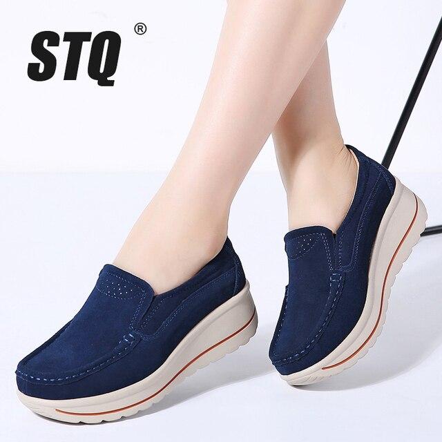 STQ 2020 Autumn Women Flats Shoes Platform Sneakers Shoes Leather Suede Platform Shoes Slip On Flats Creepers Moccasins 3507