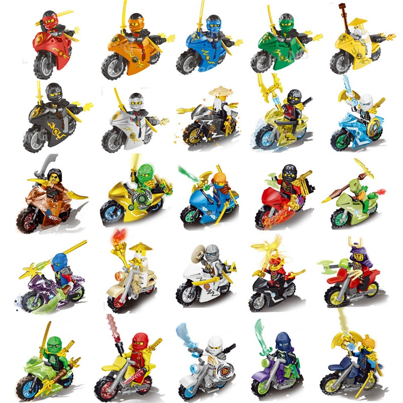 HOT NINJA motorcycle Sets Kai Jay Cole Zane Nya Lloyd With Weapons Action Toy Figure Blocks Compatible NinjagoINGlys LegoINGlys 3345 technic city series mini container truck model building blocks enlighten figure toys for children compatible 8065