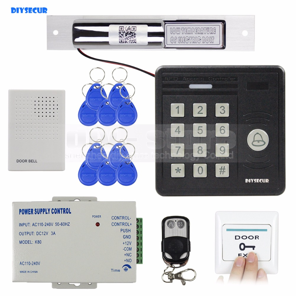 DIYSECUR Waterproof 125KHz Rfid Card Reader Door Bell Button Keypad + Electric Bolt Lock Door Access Control Security Kit KS159 wireless home security door bell call button access control with 1pcs transmitter launcher 1pcs receiver waterproof f3310b
