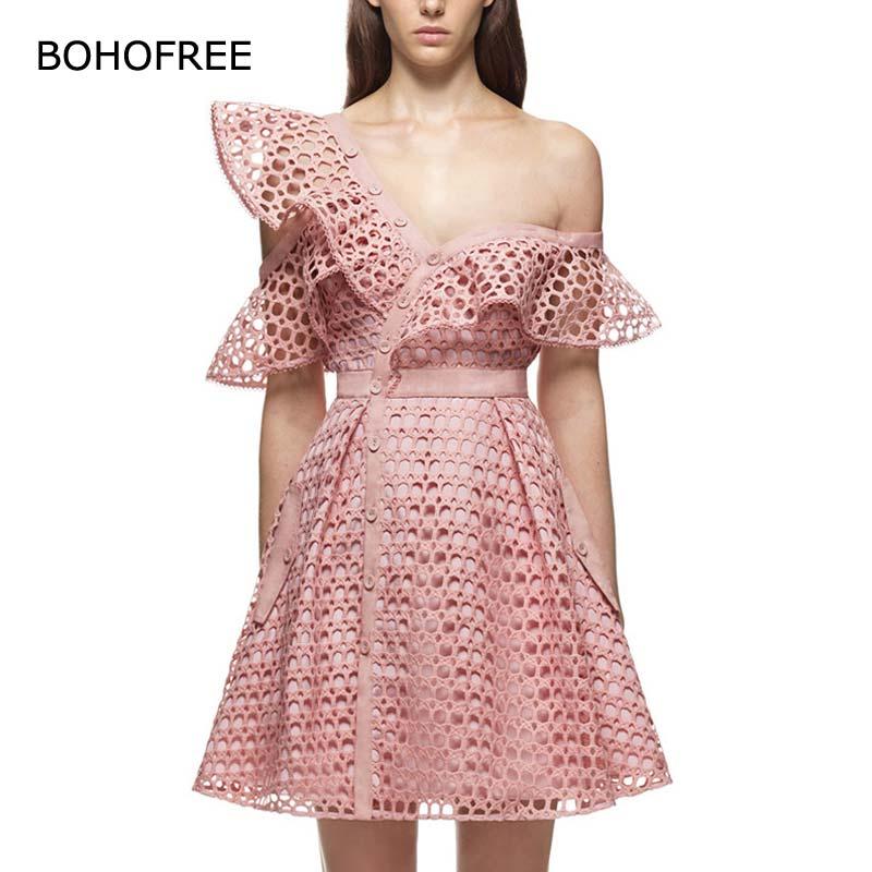 BOHOFREE/2018 кружевное платье с открытыми плечами, с оборками, с воротником, с вырезами, розовое, черное, белое платье, женские вечерние кружевные ...