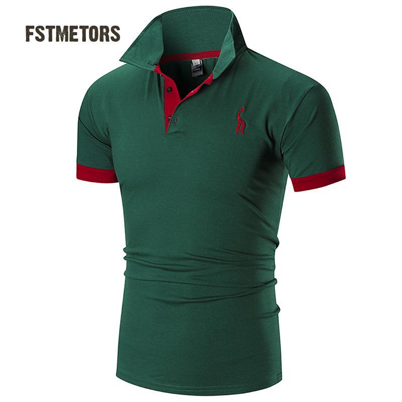 4e94c6cc2038a0 2018 FSTMETORS Heren Polo Shirt Merken Mannelijke Korte Mouwen Casual Slim  Effen Kleur Herten Borduren Polo shirt in 2018 FSTMETORS Heren Polo Shirt  Merken ...