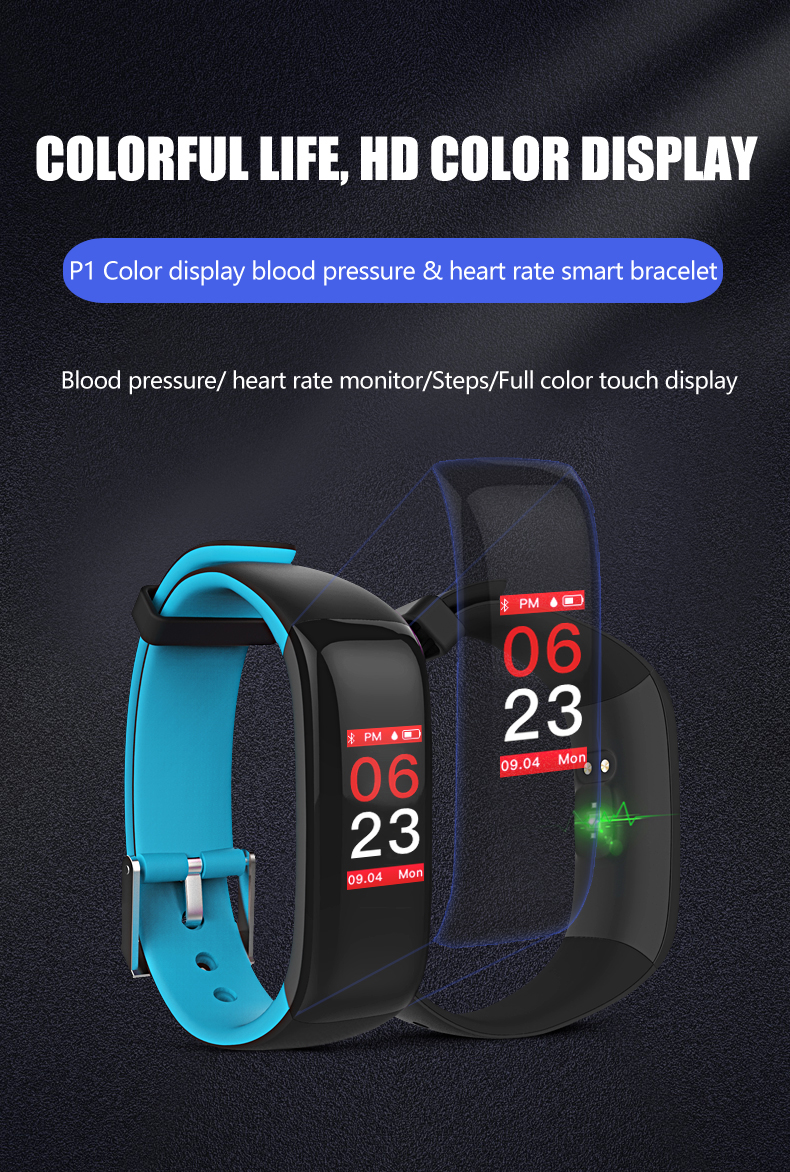 Torntisc Smart band P1 PLUS Color display Fitness Bracelet Heart rate tracker Blood Pressure Monitor Smart Wristband IP67 Waterpoof (16)