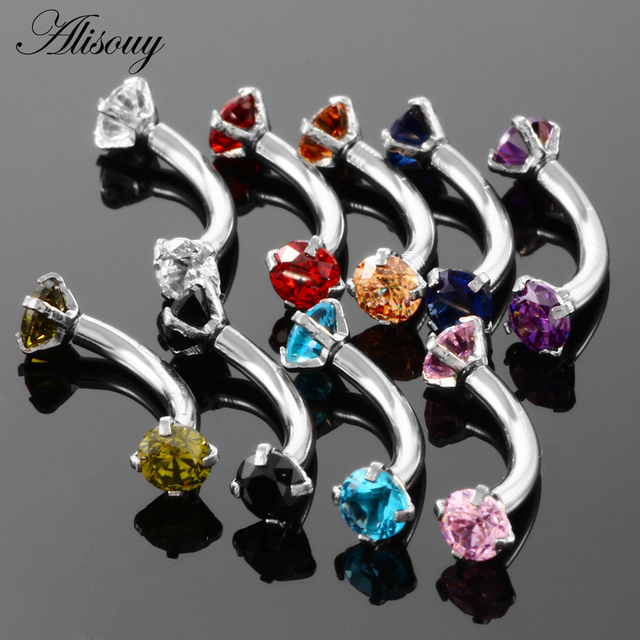 Alisouy 1pc Steel Eyebrow Rings 16G Internally Threaded Earring Tragus Crystal Eyebrow Ring Curved Barbell Piercing 9 Colors 2