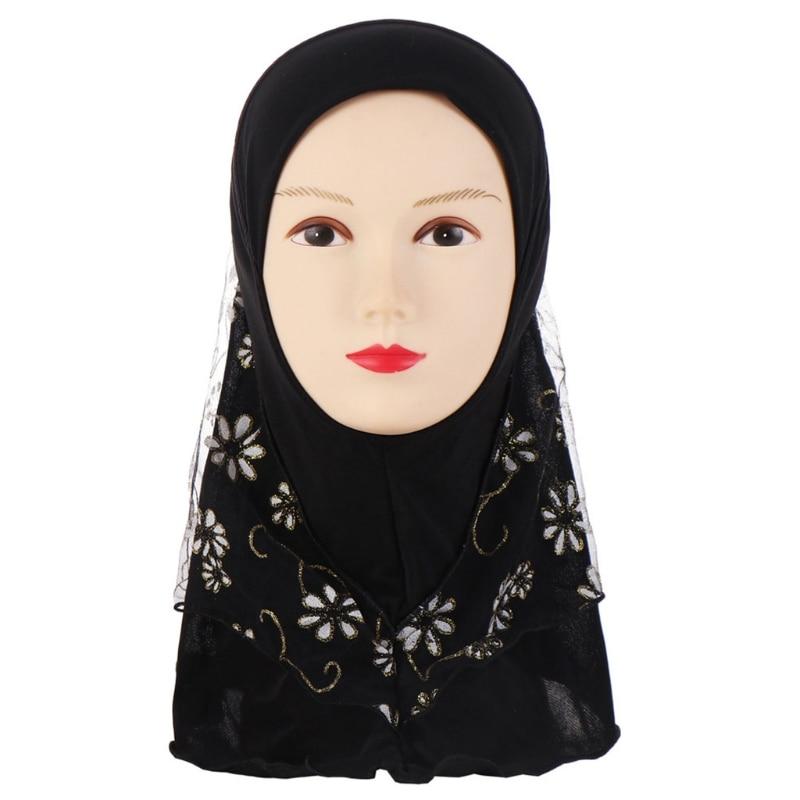 Image 3 - Детский мусульманский хиджаб для маленьких девочек с кружевным  цветочным узором, исламский шарф, шали, растягивающиеся 56 см, От 7 до  11 летАксессуары для волос