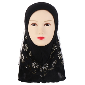 Image 3 - Children Kids Muslim Small Girl Hijab With Lace Flower Pattern Islamic Scarf Shawls Stretch 56cm 7 11 Years Old