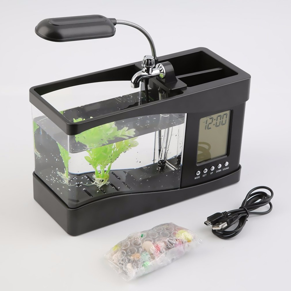 1.5L Mini USB Aquarium Fish Tank LCD Timer Clock LED Lamp Light Black Desktop Fish Tank 24 *10 * 14cm Drop Shipping