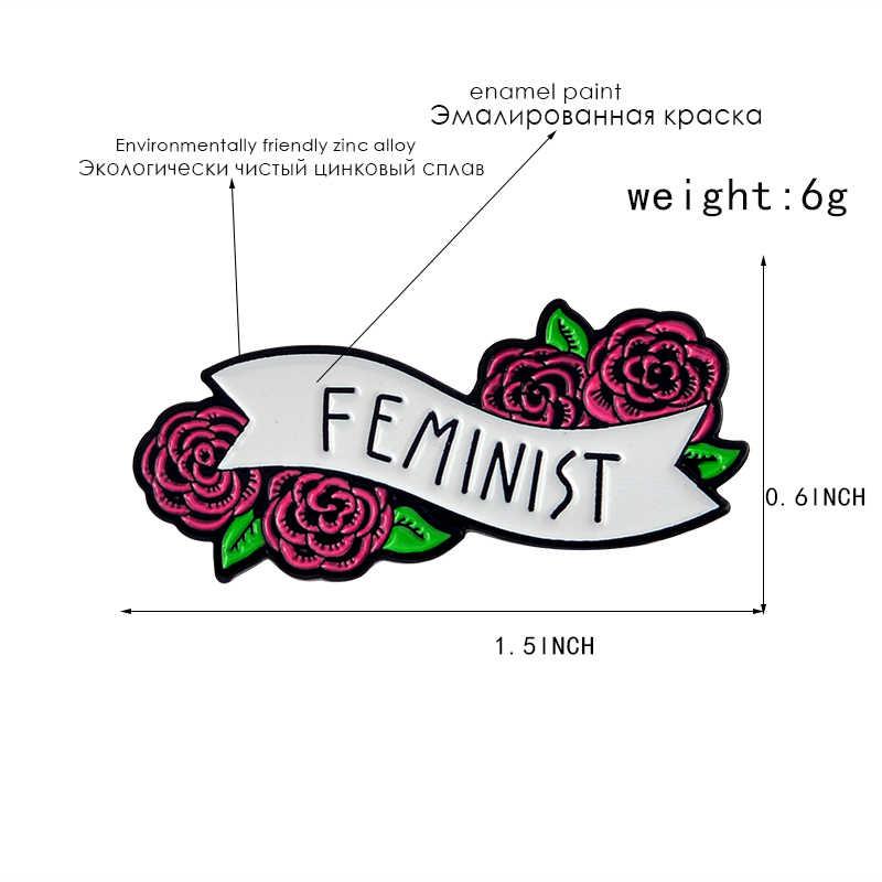 สีแดงกุหลาบดอกไม้สตรีนิยมหมุดป้ายเข็มกลัดเคลือบกระเป๋าเป้สะพายหลังอุปกรณ์เสริมของขวัญหญิงสาว