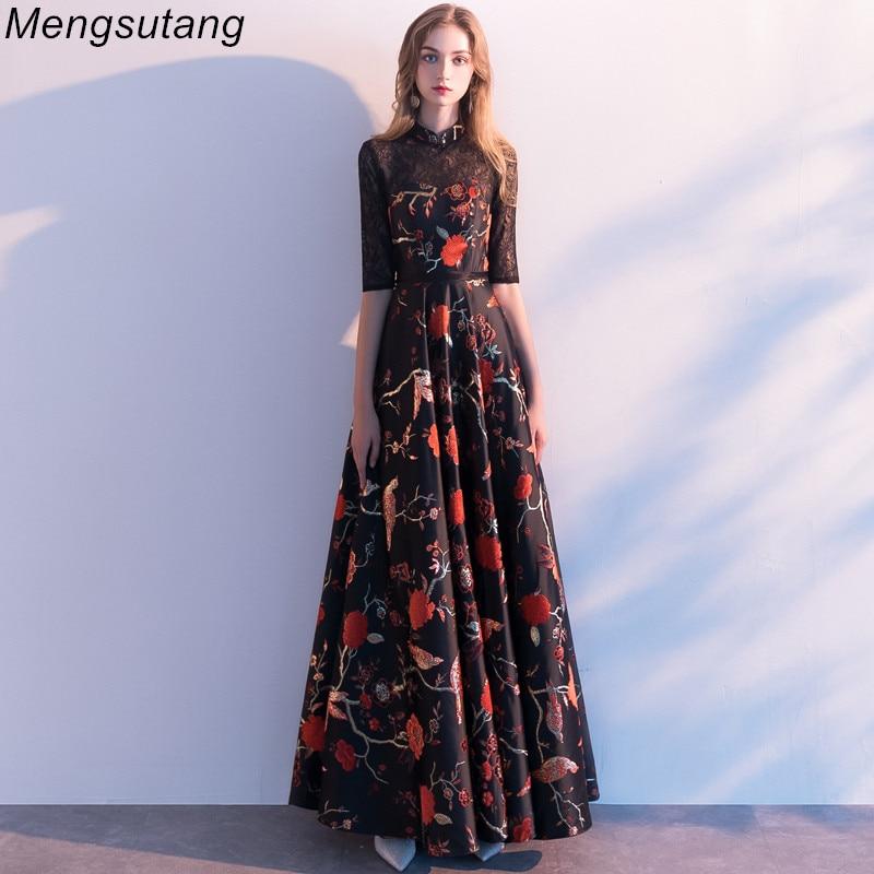 Robe de soiree New High Embroidery Backless A-Line   Evening     Dresses   long Elegant Lace vestido de festa Banquet Party Prom   dresses