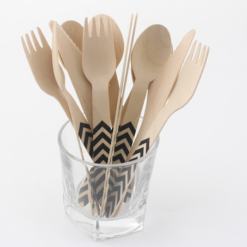 288pcs Disposable Eco-friendly Disposable Wooden  Bamboo Fork Spoon Knife Cutlery Set Portable Tableware Wooden Cutlery