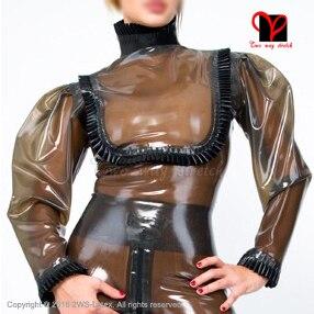 Sexy transparente negro con volantes blusa de mangas largas de goma de látex uni