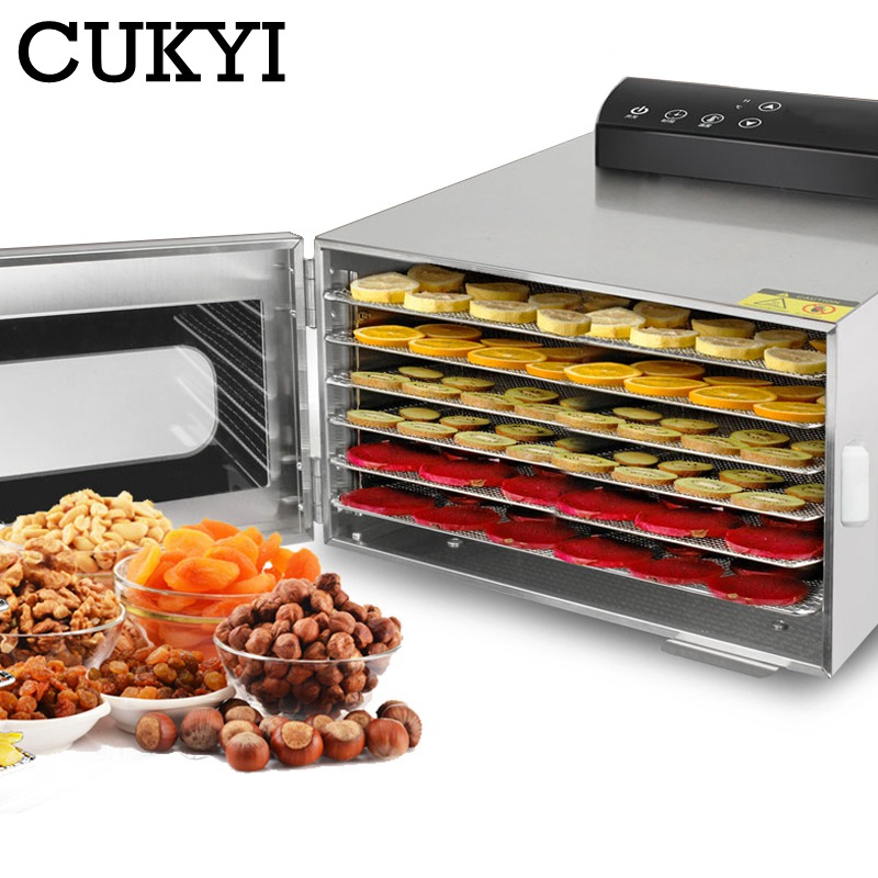 CUKYI 6 Trays Food Dehydrator Snacks Dehydration Dryer Fruit Vegetable Herb Meat Drying Machine Stai