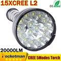 Cree Powerful LED Flashlight 20000 Lumen Lanterna led linternas Torch 15 x CREE XM-L2 LED Waterproof Super Bright LED Flashlight