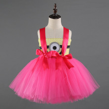 Girls Minions Birthday Child Fluffy Short Party Dress for Clothes Sleeveless Bow Cartoon Minion Costume Tutu