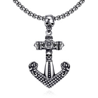 Retro Antique Pirates Skull Anchor Pendant Chain Stainless Steel Vintage Jewelry Cross Punk Rock Style Necklace