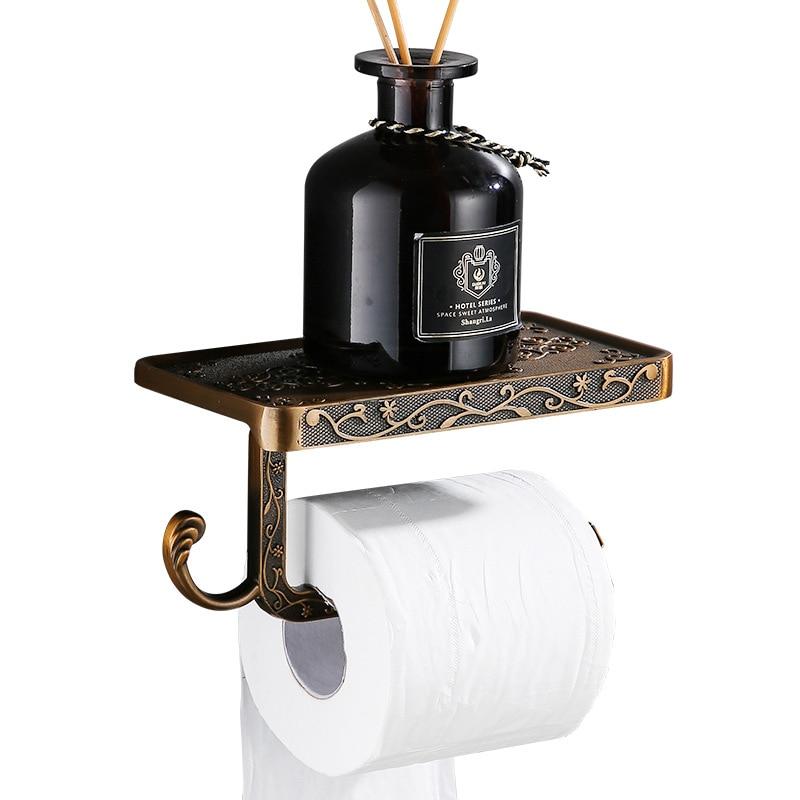 Bathroom Hardware Accessories Black Paper Towel Holder Space Aluminum Antique Mobile Phone Roll Holder White Toilet Paper Box
