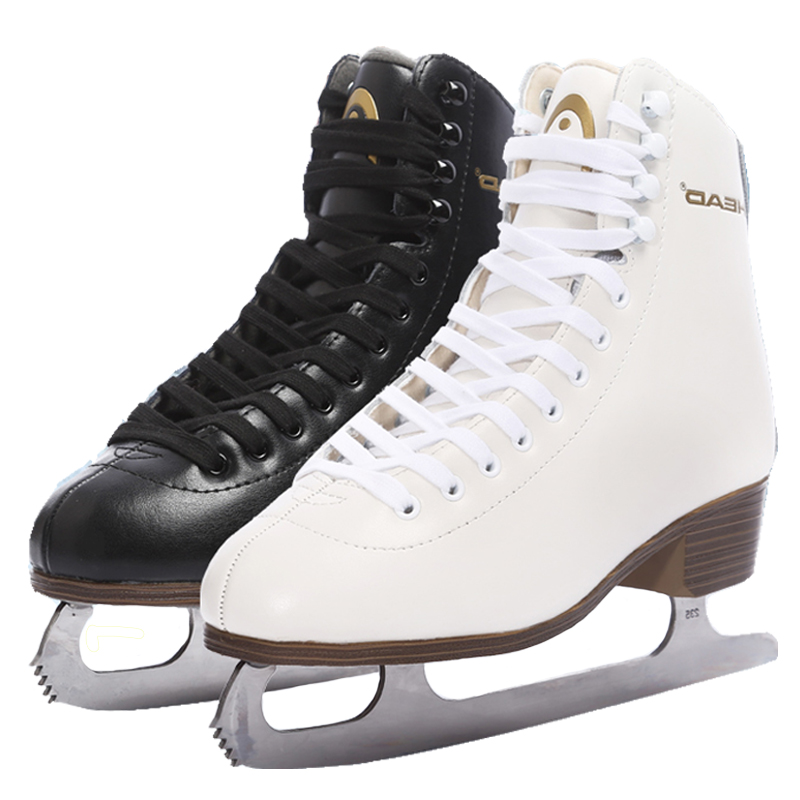 Women Kids Genuine Leather Winter Adult Professional Thermal Warm Thicken Ice Figure Skates Shoes With Ice Blade PU Waterproof