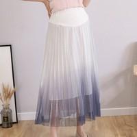Модная Корейская подушки поставок универсальное гофрированное трапецевидное юбка для беременных Высокая талия Градиент для будующих мам ...