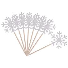 60 Pack Snowflake Cupcake Toppers Glitter Snowflake Cake Topper Picks for Christmas Birthday Party Baby Shower Wedding Cake De