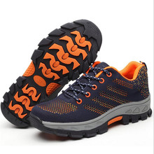 ELGEER Mens work boots winter new flying woven mesh breathable safety shoes anti-piercing steel head labor insurance mens shoe