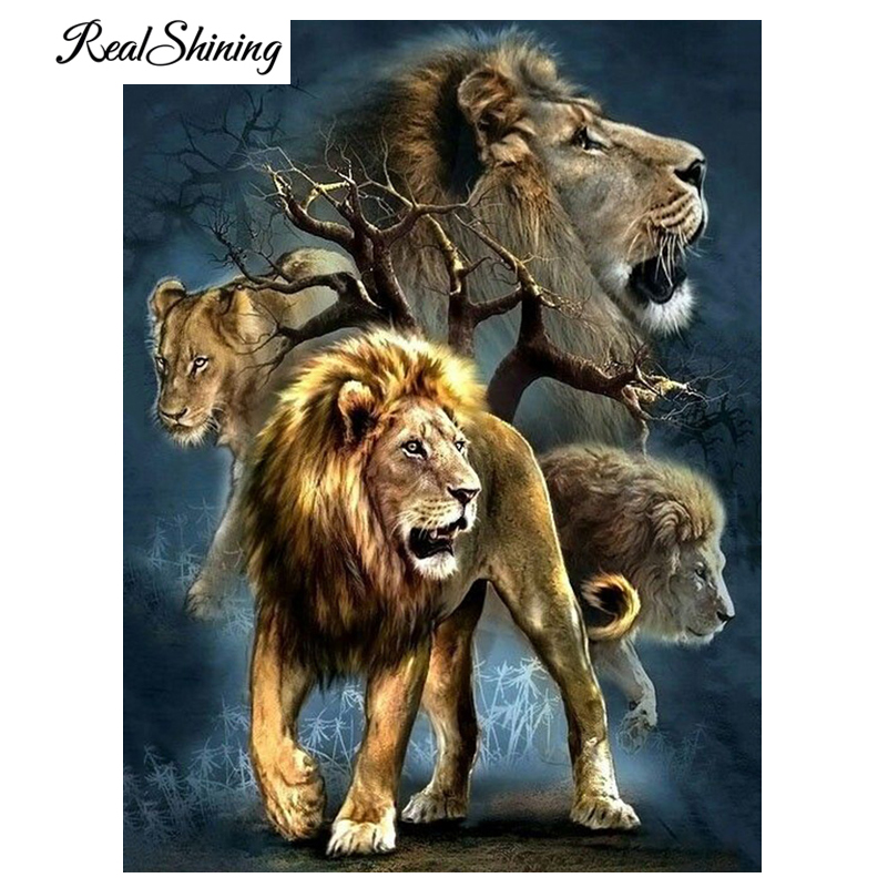 REALSHINING Full Square 5D DIY Diamond Painting Cross Stitch Lions ...