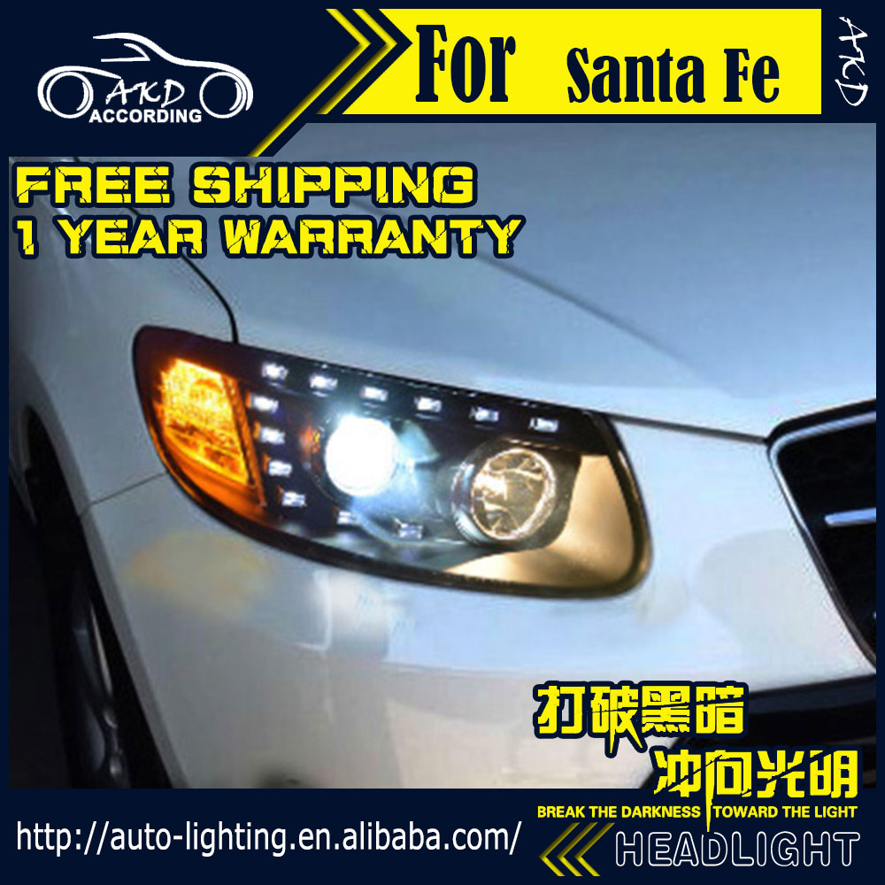 AKD Car Styling Head Lamp for Hyundai Santa Fe Headlights 2007-2012 SantaFe Headlight H7 D2H Hid Option Angel Eye Bi Xenon Beam farcar s130 hyundai santa fe 2012 на android 7 1 w209