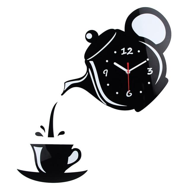 Новое поступление настенные часы Зеркало Эффект Кофе чашки Форма декоративные Кухня Настенные часы Гостиная Домашний Декор wandklok