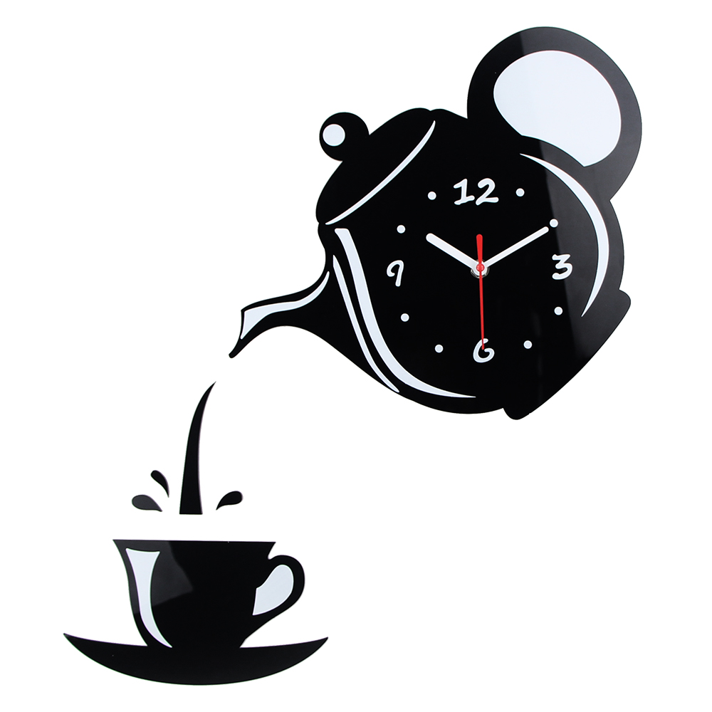 Creative 3D DIY Wall Clock Acrylic Mirror Coffee Cup Shape Teapot Kitchen Wall Clocks Living Room Dining Room Home Decor Clock