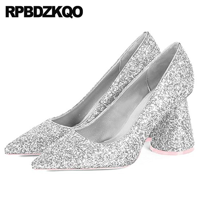 Wedding Silver Heels: 2018 Size 4 34 Sparkling Sequin Chunky Women Silver Prom