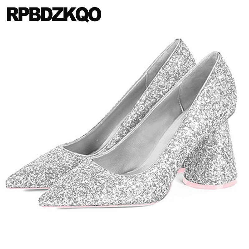 c6548e3791 2018 size 4 34 sparkling sequin chunky women silver prom pointed toe pumps  dress high heels