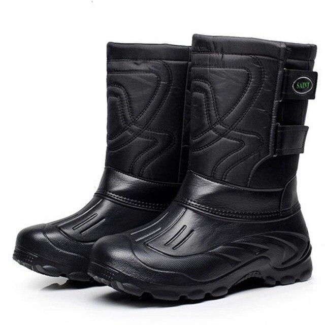 US $23.52 36% OFF|Winte männer Schuhe EVA Motorradstiefel Männer Wasserdicht Angeln Arbeit Schuhe Mittler kalb Hohe Regen Stiefel Warme Pelz