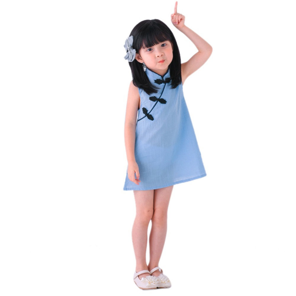 7938ccf9bd8d3 US $2.77 27% OFF|2019 Baby Girl Dress Peacock Sleeveless Slim Traditional  Dress Cheongsam Child Girls Clothes Chinese Style Children Clothes-in ...