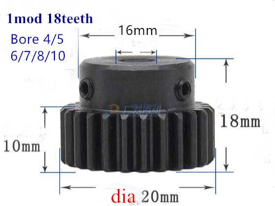 平歯車 1 mod 18 歯 1 メートル 18 T 金属モーター boss ギヤ内穴 4 ミリメートル-10 ミリメートルラックとピニオン 45 鋼正ギア CNC ギアラック