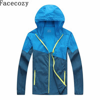 Facecozy Men Summer Outdoor Hooded Patchwork Jacket Sun Protective Climbing Jackets Sport Ultralight Breathable Hunting Coat