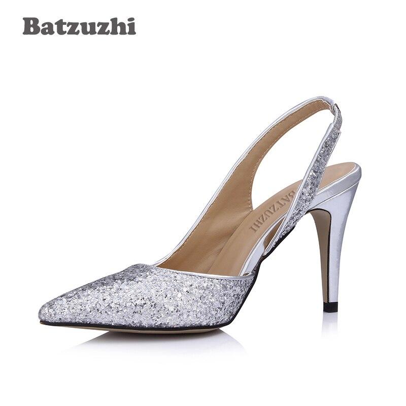 Silver Heels Wedding: Batzuzhi Luxury Beautiful Women Shoes 9CM Low Heels Silver