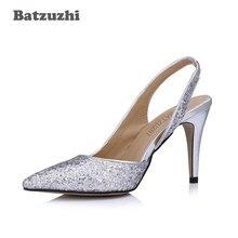 Batzuzhi Luxury Beautiful Women Shoes 9CM Low Heels Silver Glitter Bling Wedding Slingback, Big Size 35-43