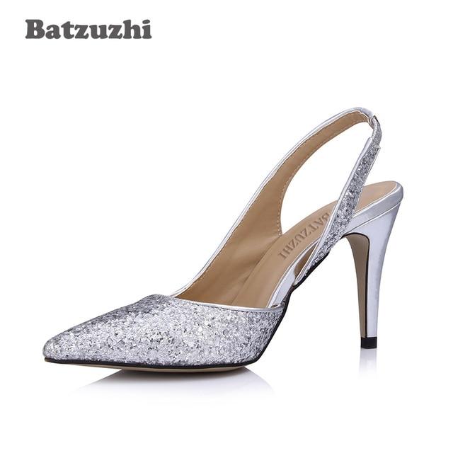 93ae807b81da Batzuzhi Luxury Beautiful Women Shoes 9CM Low Heels Silver Glitter Bling  Women Wedding Shoes Slingback