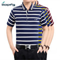 2017 New Striped Men POLO 100% Cotton Loose Atmosphere Men Short Sleeve POLO Variety Of Colors 30-60 Years Old  3XL  MK 655