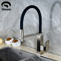 Wholesale And Retail Kitchen Sink Faucet Single Handle Pull Out Mixer Tap With Black Rubber Body